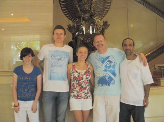 Rachel, Ukrainian friends, Liam and Saif from UAE