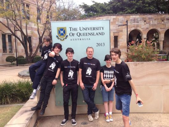Team R2-D2 at UQ (University of Queensland) for the 2013 Australian Open in September. From left Quentin Lovett, Aaron Watson, Lachlan Stone Liam Dunphy (teacher/coach), Rachel Coster (referee) and Niall Powers.